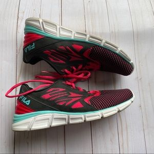 FILA black, pink and teal athletic sneakers